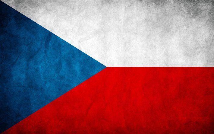 Czech Republic flag, Czech flag, wall texture, European flags