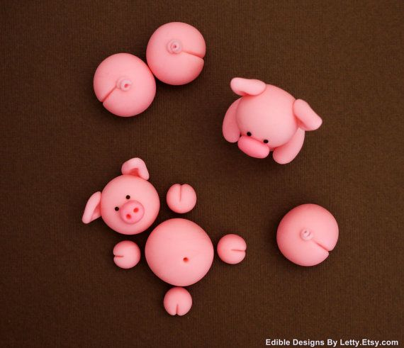 Edible Fondant Pigs Cake Toppers for Swimming Pigs in Kit Kat Barrel Cake