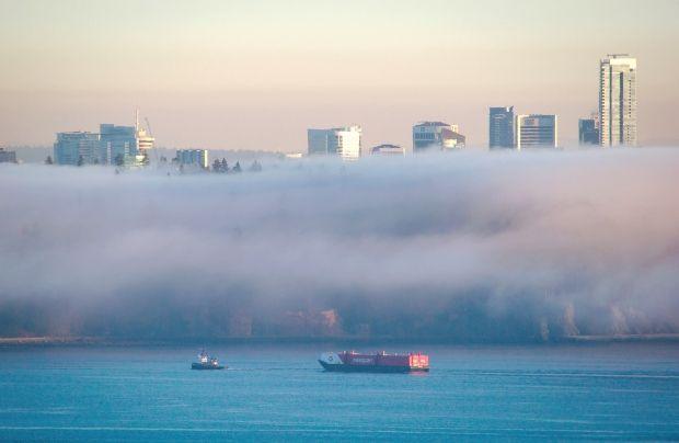 A tugboat pulls a Seaspan barge on Burrard Inlet as fog envelopes Stanley Park in Vancouver on Jan. 24, 2014.