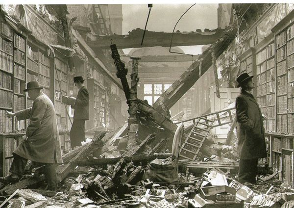 The library at Holland House in London, England, mostly destroyed by the German blitz in September 1940. This iconic photograph demonstrates that the urge to browse and read lives on.  via beautiful-libraries.com
