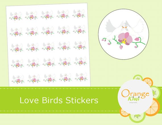 Love Birds Wedding Stickers  Just Married by OrangeKiwiDesign