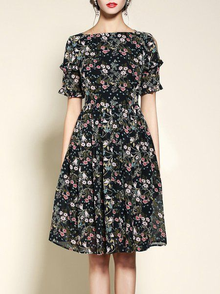 Shop Midi Dresses - Navy Blue Bateau/boat Neck A-line Vintage Floral-print Midi Dress online. Discover unique designers fashion at StyleWe.com.