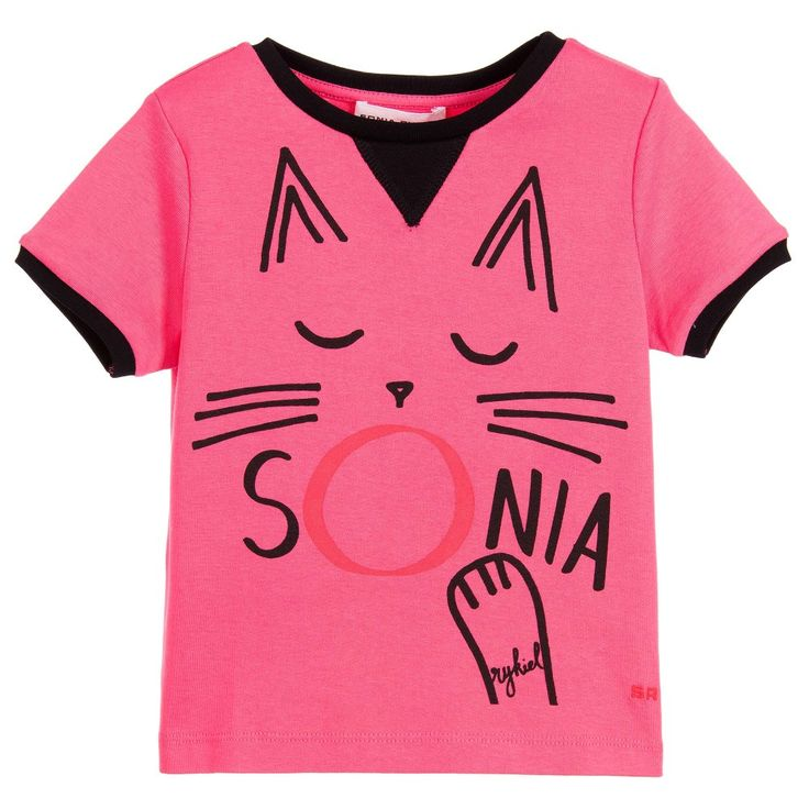 Girls fuchsia pink t-shirt by Sonia Rykiel Paris, made in soft cotton jersey. It has black trims and a cute, yawning cat printed on the front, with the designer's logo.