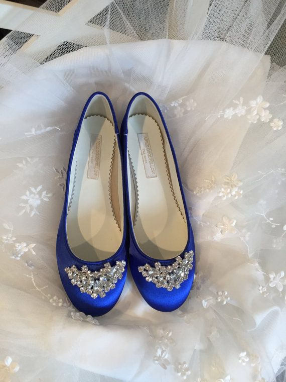 Simple Wedding Flats *Dyeable Satin *Comfortable shoes *Sparkling crystal embellishment on toe *Choose from over 150 colors (Shown in Sapphire)