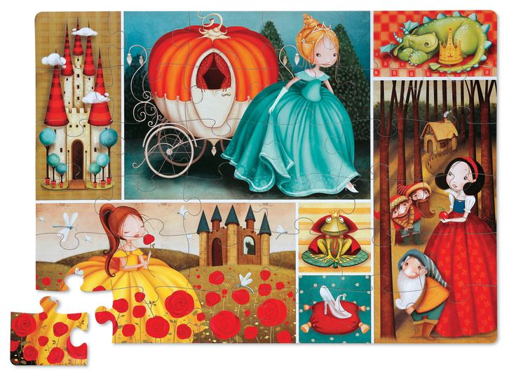 This beautiful fairy tale themed puzzle includes 36 jumbo puzzle pieces that are easy for little hands to assemble! A floor puzzle like this is excellent for learning and play as well as great practice for hand-eye coordination, logic and problem solving skills! Comes in a fun-shaped storage box. Contains 36 colourful puzzle pieces depicting 7 scenes from your favourite fairy tales, like Snow White, Cinderella and more! Age 3+. #CrocodileCreek #CamelotKids #FairyTalePuzzle