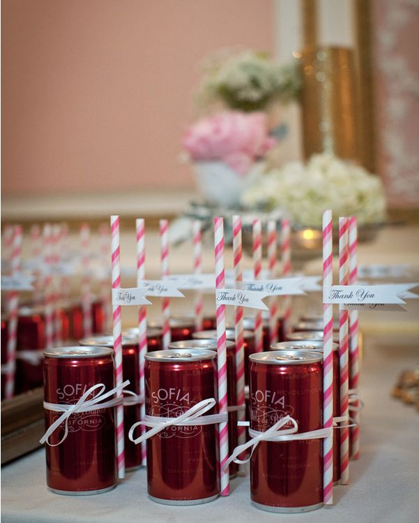 These personalized drink wedding favors are so sweet!