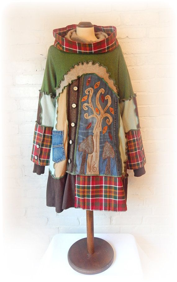 Tree Dress Smock Sweater Upcycled Applique Hoodie by TheTopianDen