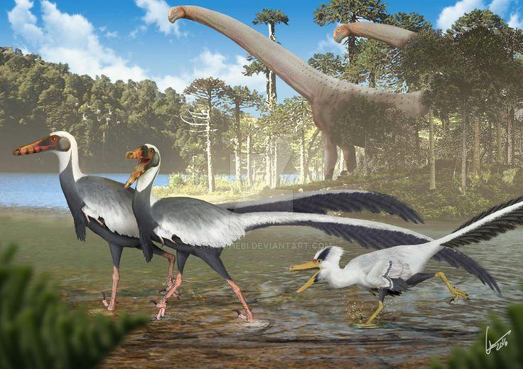 Fighting Unenlagias in Late Cretaceous Argentina by Kana-hebi on DeviantArt