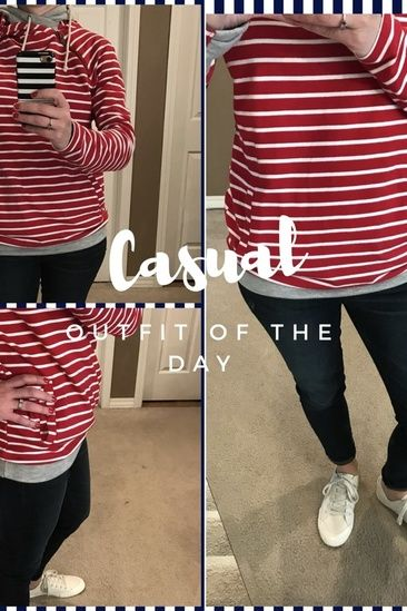 f01afc89a7 Casual day! Red and white striped sweatshirt, dark skinny jeans, white  chuck Taylor. Love! #ShopStyle #shopthelook #SpringStyle #OOTD #afflink
