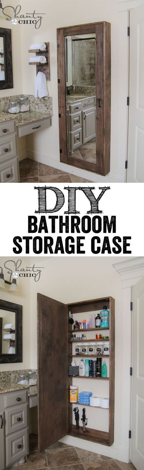 DIY Bathroom Organization Cabinet with full length mirror…. LOVE THIS IDEA! www.shanty-2-chic.com