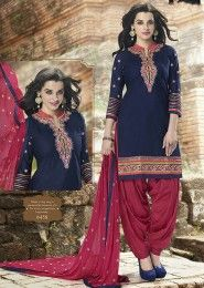 Casual Wear  Cotton Blue Embroidered Work Patiala Suit