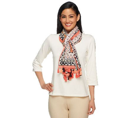 Susan Graver Border Printed Cotton Scarf with Tassels