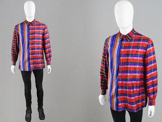 Vintage 90s GENE CABALEIRO Mens Silk Shirt Patchwork Fabric