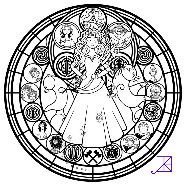 Disney Brave Stained Glass Merida Line Art By