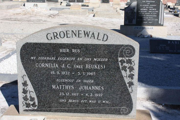 GROENEWALD Matthys Johannes 1917-1997 & Cornelia J.C. BEUKES 1922-1965