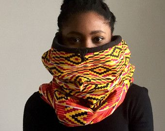Fleece Lined African Print Scarf by DesignsByArielS on Etsy