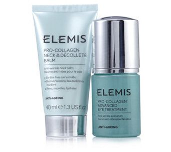 235372 - Elemis Pro-Collagen Targeted Neck & Eye Duo QVC PRICE: £52.00 FEATURE PRICE: £43.98 + P&P: £3.95 or 2 Easy Pays of £21.99 +P&P This gorgeous skincare duo from Elemis features products from the lauded Pro-Collagen range, including Neck & Decollete Balm to help smooth and soften the look of your delicate decollete area, plus Advance Eye Treatment to help reduce the look of fine lines and wrinkles.