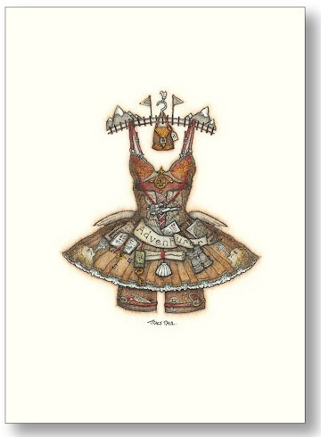 Adventurer Dress by Tracy Paul.  Greeting card by Tracy Paul.  Was $2.95 Now $1.49  [which is 0.98gbp with P&P; to UK total cost would be 17.17gbp]