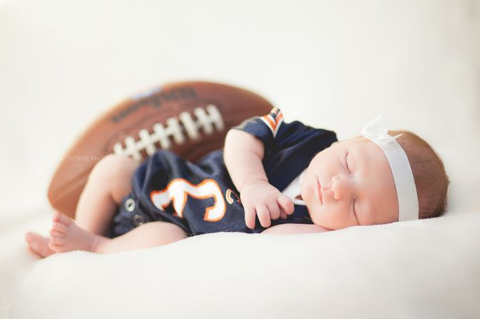 Newborn photography sports football bears