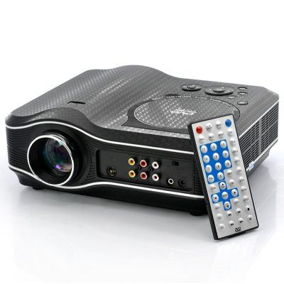 DVD Projector with DVD Player Built In - DVD Player Projector Combo, LED, 800x600, 30 Lumens, 100:1 Contrast What an amazing combo! This Multimedia LED projector with DVD player built-in plays movies