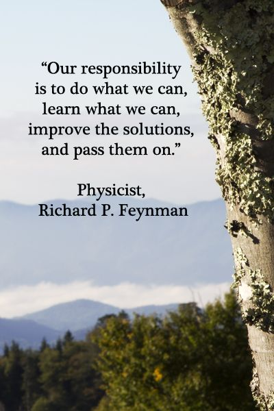 """Our responsibility is to do what we can, learn what we can, improve the solutions, and pass them on."" – Physicist, Richard Feynman"
