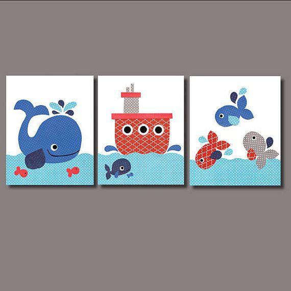Nautical Dream Big Whale Nursery art prints baby decor kids wall art children wall little boys room little boy green orange nursery artwork on Etsy, $42.00