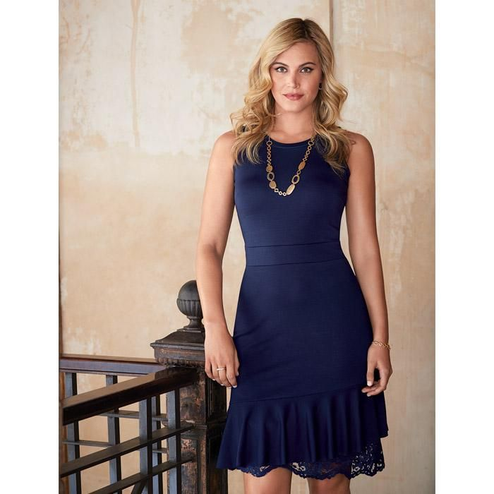 The new LBD! This little blue dress in super smoothing ponte will carry you through spring, summer and beyond. This elegant number has a bit of lace peeking out from under the hem for added detail.FEATURES• Round collar•Floral lace from under the ruffled hemline•Sleeveless A-line dress•Hi-low hemMATERIALS• Dress: 68% Rayon 28% Polyester 4% Spandex• Lace: 100% PolyesterMade in China