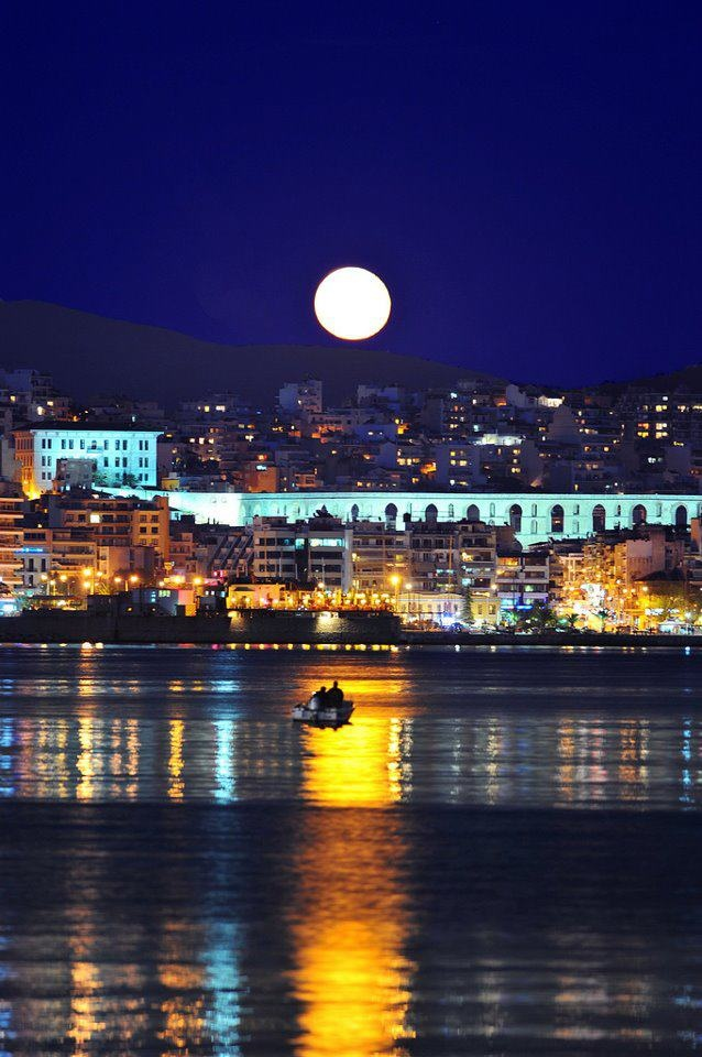 "The City of Kavala on Full Moon. The old ""Boys Highschool"", nowadays the 1st Highschool - my school - stands at left. A circa 1910 Ottoman building."