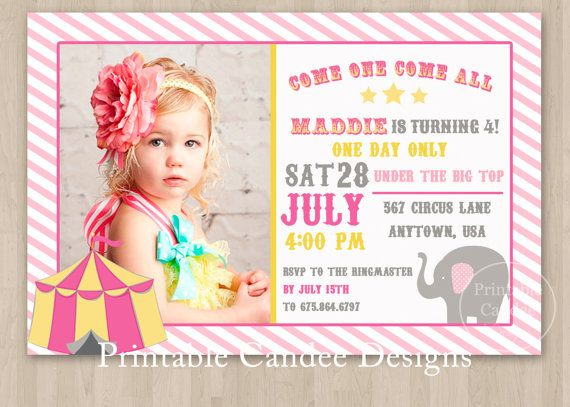 17 Best ideas about Circus Birthday Invitations – Girl Photo Birthday Invitations