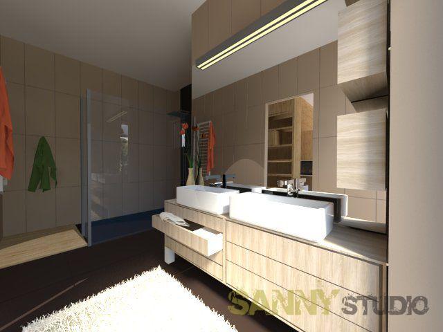 Návrh kúpeľne do rodinného domu pre mladú rodinu.