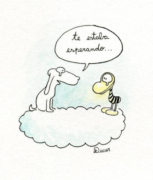 El encuentro del entrañable Clemente con Mendieta, el perro que dibujaba el dibujante rosarino Roberto Fontanarrosa, fallecido en 2007.