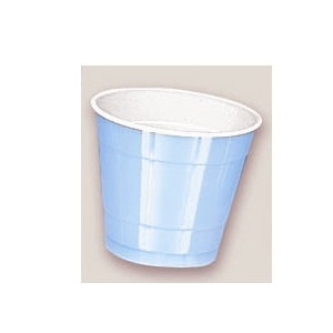 Plastic Powder Blue Cups. There are 20 Plastic Cups per package. These 9 ounce cups come in 22 colours to match any theme or event.
