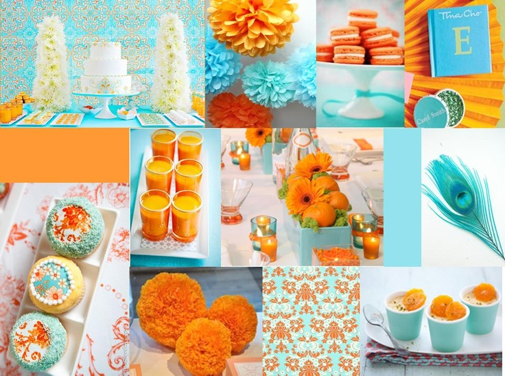 Aqua and orange 40th birthday inspiration  by Just call me Martha
