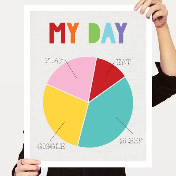 colourful baby art poster  my day pie chart by creativemonsoons