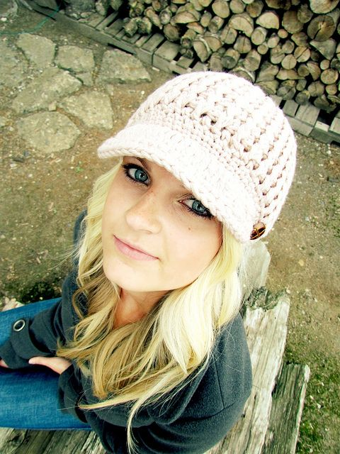 Blush Pink Crochet Hat.   I love these hats if always wanted one!