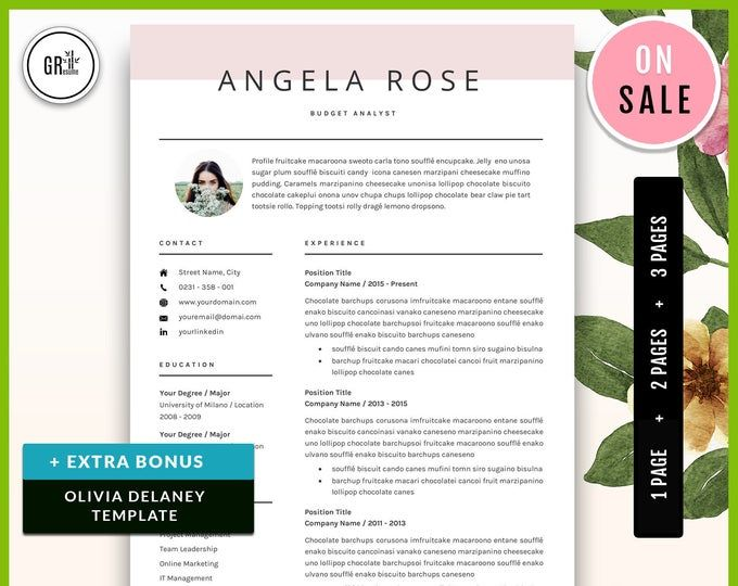 4 Page Modern Resume Template Cv Template Professional And Etsy Resume Template Professional Resume Template Cv Template Professional