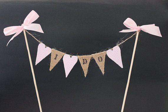 I do wedding cake topper mini burlap / hessian double by SoLuvli