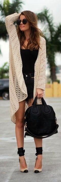 Woman Fashion: strappy heels, long lace caridgan , black jean shorts , black tank! Big Purse! CUUUTE