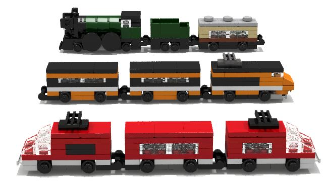 In this builds you can find the micro variations of the following official Lego Train sets:7898 Cargo Train Deluxe, was released in 2006.10194 Emerald Night, was released in 2009.7938 Passenger Train, was released in 2010.7939 Cargo Train, was released in 2010.10219 Maersk Train, was released in 2011.10233 Horizon Express, was released in 2013.All models are well scaled, based on oroginal trains.A little fun for your desktop.Trains built with some additions.