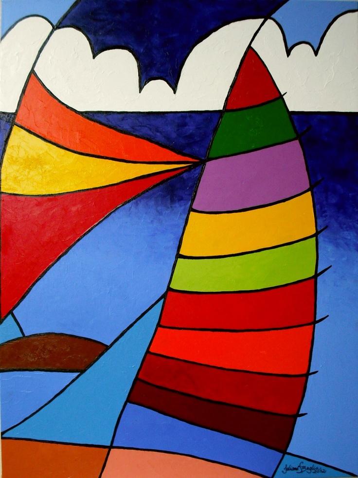 Série Barcos à Vela Acrílica Sobre Tela 80 x 60 2012 Aceito encomendas em outras medidas. Pintura nas laterais, sem necessidade de Moldura....