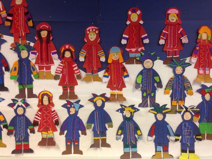 Kuvis ja askartelu - www.opeope.fi. Tässä on varmaankin tehty kirjontatyötä, joka on yhdistetty saamelaisiin ja ehkä myös YK:n päivään...