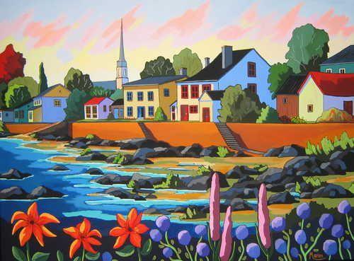 Poésie de Kamouraska - Louise Marion, artiste peintre, paysage urbain, Quebec, couleurs