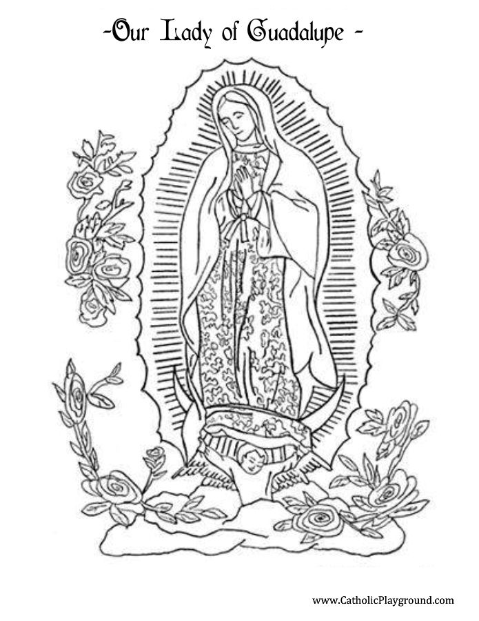 our lady of guadalupe coloring page catholic playground