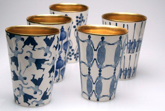 Fancy cups featuring #textile art! #textiledesign #printandpattern \\ Swedish designer Åsa Lindström