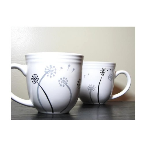hand painted cups.. danedlions