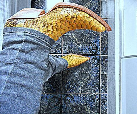 Botas Exóticas Python Amarela