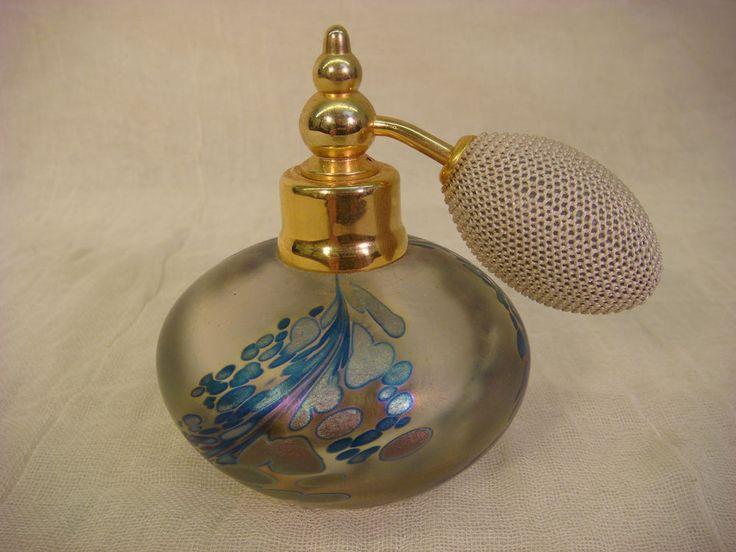 ART GLASS IRIDESCENT OIL SPOT PERFUME BOTTLE ATOMIZER SIGNED RUDI 1991 STUDIO