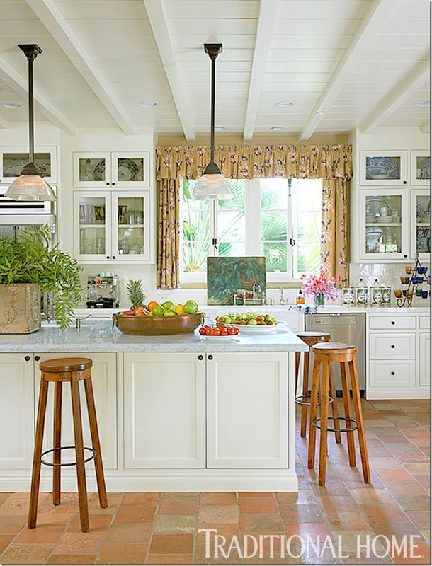 von kersting chose antique french terracotta tiles for the kitchen floor white marble for the countertops and wood beams on the ceiling creating a - Terra Cotta Tile Home 2016
