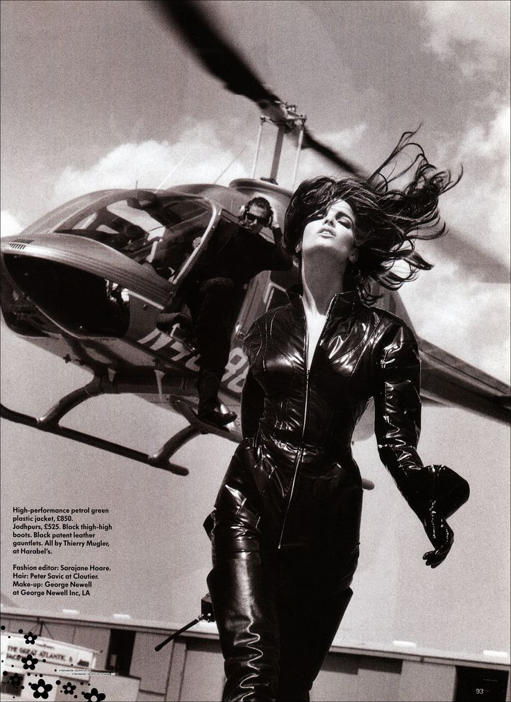 Stephanie Seymour wearing jacket and boots by Thierry Mugler - British Vogue August 1990 by Herb Ritts.