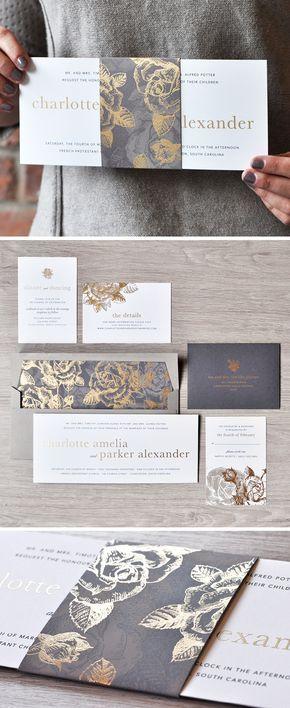 Invitación de boda diseñada con un estampado de flores doradas y color gris, ¿te gusta?